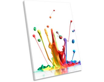 Rainbow Paint Splash Framed CANVAS WALL ART Print Picture