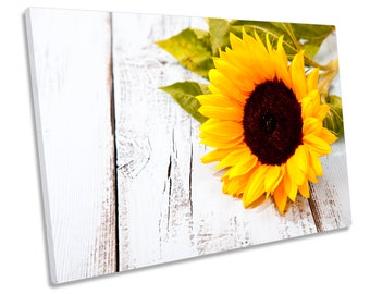 Sunflower Floral Flower Yellow Print CANVAS WALL ART Picture Framed