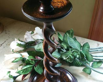 Vintage barley twist candle stick holder; Walnut; handmade
