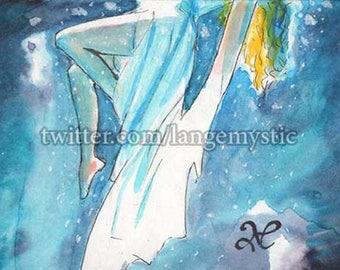 ACEO Peinture Painting Carte Original Sketch Card Woman Sea Fall Dress 1/1 PSC