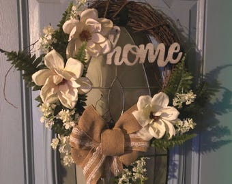 Front door wreath-wreath-farmhouse wreath-farmhouse decor-decor-rustic wreath-rustic decor-magnolia wreath-spring wreath-spring decor