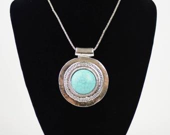 Genuine Turquoise Silver Boho Medallion Necklace