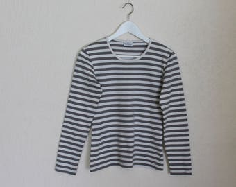 MARIMEKKO Nautical Shirt Long Sleeves Top White Grey Striped Sailor Blouse Marine Sweaters Cotton Jersey T-Shirt Extra Small Size