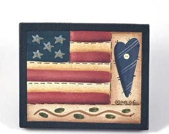 Hand painted pin/brooch: American patchwork
