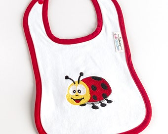 Baby BIB with a red ladybug embroidered - Perfect gift for a baby shower - Baby boy & baby girl BIB - Triple layer BIB