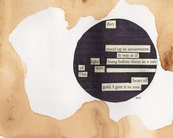"This heart of gold - Blackout Poetry and Tea (5""x7"" Print) from The Hobbit Collection"