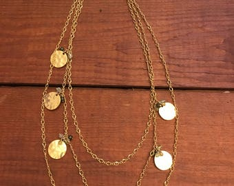 three strand gold coin necklace