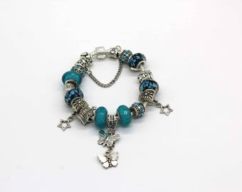 add a bead bracelet teal and silver