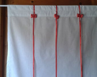 White retro curtain with red bows