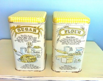 Vintage Sugar and Flour Tin Containers/Vintage Kitchen Tin Containers/Retro Kitchen Canisters/Vintage Canister Set/Rustic Kitchen Decor