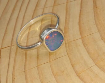 Fine band silver opal ring