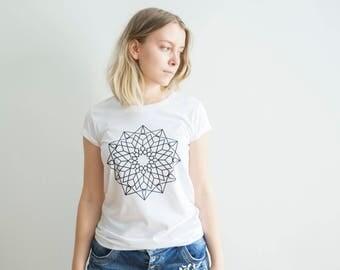 FREE DELIVERY! / Slim Fit women Mandala T-Shirt for Good Decisions  / Mandala T-Shirt / Sacred Mandala Shirt / Mandala Top / Mandala Tee