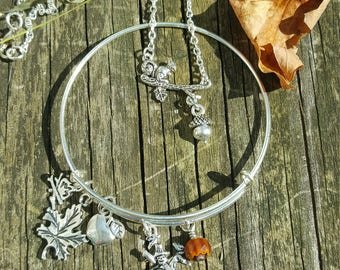 Absolutely Autumn Jewelry Set, Fall Jewelry, Season bracelet, Apple Jewelry, Nature Jewelry, Squirrel Jewelry, Gifts For Her, Free Shipping