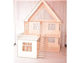 Dollhouse with stairs, doll house, dollhouse, Wood dollhouse, Dollhouse kit, Modern dollhouse, Wooden doll house, 1:12 scale