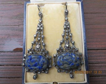Art Nouveau Sterling Silver Lapis Lazuli Marcasite Chandelier Earrings circa 1910 England Carved Flower Gemstone