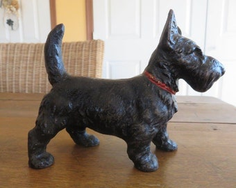 Vintage Hubley Cast Iron Scottie Dog Doorstop 1930's Original Paint