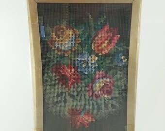 Embroidery Kit Rose Bouquet   Vintage Needlepoint Kit, AMC Barenwolle Cross-Stitch Kit, 1970's Craft, Germany Stitchery Kit, Crewel Kits