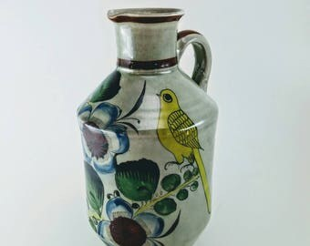 Mexican Tonala Vase | Folk Art, Hand Painted, Tonala Bird Vase, Tonala Bird Pitcher, Mid Century Art, Mexican Pottery, Tonala Pottery