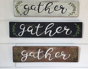 "Hand Painted ""Gather"" Sign // Fall Decor // Thanksgiving Sign // Thanksgiving Decor // Thankful Sign // Fall Decorations // Fall Quote"
