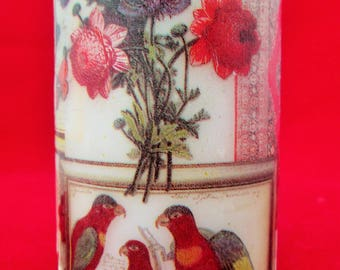 Decorated Candle, Floral Candle, Bird Candle, Red Vintage Candle, Decoupaged Candle, Medium Pillar, Hand Decorated, Butterfly Candle