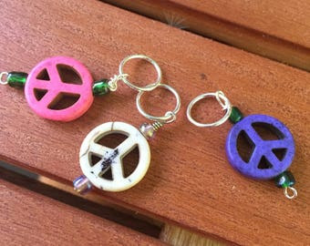 Eugene Peace Sign Stitch Markers (US size 10.5 needles or smaller)