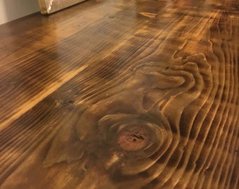 reclaimed wood desk or table with trestle legs