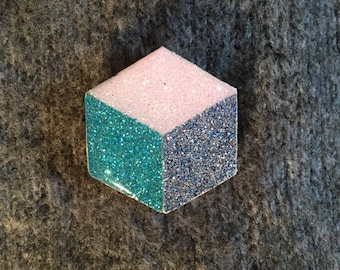 """Brooch blue """"Cube"""""""