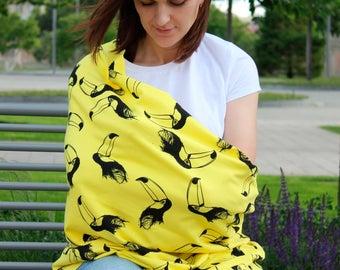 Breastfeeding cover yellow toucans - Nursing cover 5-in-1 - Breastfeeding scarf - Nursing scarf - Carseat canopy - Nursing apron