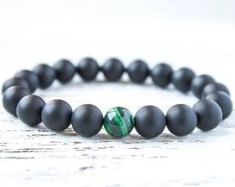 Black and Green Matte Bracelet Green Malachite Gift for Her Brother Bracelet Black Mens Bracelet Dad Bracelet Gay Bracelet Gift for Husband