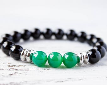 Brother Bracelet Black Green Yin Yang Gay Bracelet Sister Bracelet Green Mens Bracelet Dad Bracelet Cousin Bracelet Minimalist Gift for Her
