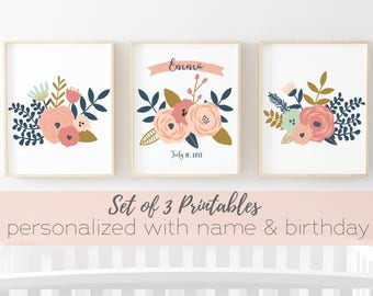 Personalized Baby Art - set of 3 personalized printable art prints - 3 8x10 digital art prints - emailed to you with baby name and birthday