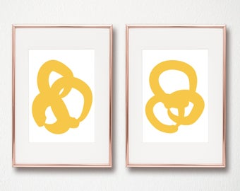 Yellow Abstract Modern Art Set of 2 Digital art prints 8x10 and 11x14 modern art prints set of 2 yellow abstract printables instant download