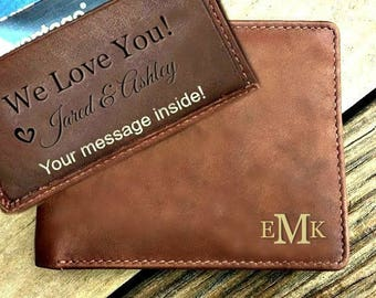 Personalized leather wallet • Personalized wallet • personalized mens wallet, mens leather wallet • leather RFID wallet • Toffee* 7751
