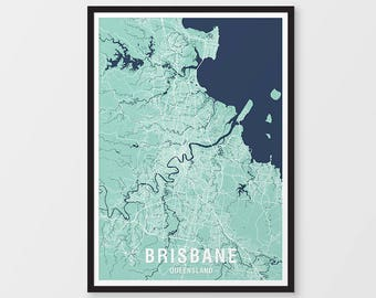 Brisbane City Map Print Various Colours - Two-tone / Queensland / Australia / City Print / Australian Maps / Giclee Print / Poster