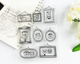 Bear Stamp, photo frame stamp, animal Stamp, cute bear , Clear stamp, kawaii bear, Transparent, Ornamental, Planner Stamp,  Rubber stamp