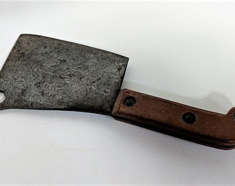 Antique Cleaver with Heavy Blade Instrument Heavy at 2 Pounds Weighted Handle 3/8 Inch Wide Blade at Widest Part Carbon Steel Hand Forged