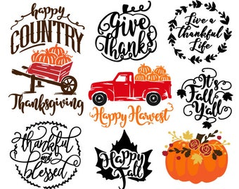 Fall bundle, svg, cut, file, files, Thanksgiving, Fall, Autumn, pumpkin, pumpkins, truck, leaf, country, vector, design