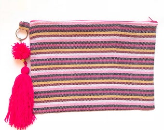 Serape clutch, Serape bag, Mexican clutch, Mexican bag, Serape purse, Mexican Zip pouch, Mexican purse, Boho clutch, Boho purse, Make up bag