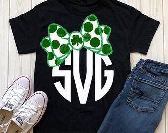 st patrick's day svg, monogram svg, girls svg, iron on, polka dot svg, commercial use svg, printable, SVG, DXF, Eps, png, St patrick's day
