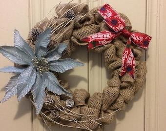 Burlap Christmas Wreath, Christmas Wreath, Poinsettia Wreath, Christmas Decor, Christmas, Holiday decor