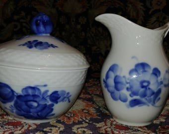 Royal Copenhagen Blue Flowers Braided Creamer and Sugar Bowl with lid Mint