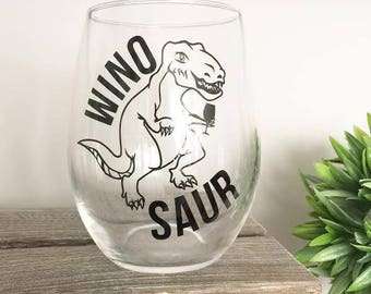 Winosaur, Winosaur Gifts, Wine Glasses With Sayings, Funny Gifts, Gifts For Her, Stemless Wine Glasses, Dinosaur Lovers, Wine Lover Gift