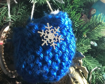 Homemade knitted Christmas decoration