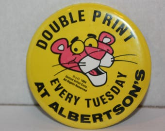 Vintage Pink Panther Double Print at Albertsons Pinback Button 1984