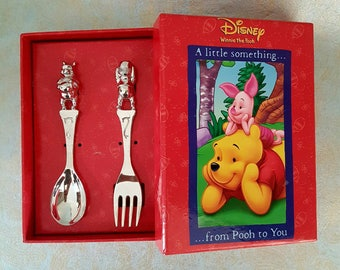 Disney Winnie the Pooh Silver Plated Cutlery Set Spoon Fork Honey Pot Boxed