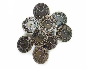 8 buttons clock - Set of buttons - buttons Steampunk - B1176816