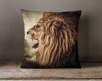 Lion Cushion Covers, Lion Throw Pillow, Lion Pillow Cases, Lion Cushion Covers, Nature Throw Pillow, Animal Pillow Cases, Lion Head