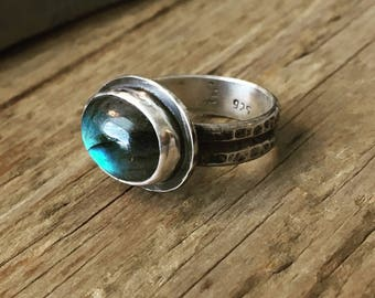 Labradorite Ring - Labradorite Jewelry - Statement Ring - Solitaire Ring - Edgy Ring - Boho - Gypsy - Rustic Ring - Size 6.75 - 17026