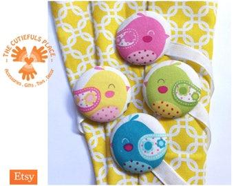 Set of 2 Cute Bird Magnetic Curtain Holdback, Tieback   Nursery, Kids room decor   Children, kid, baby curtain   Yellow, green, blue, pink
