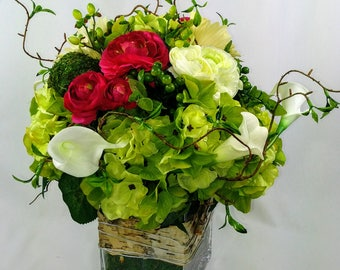 Hydrangea, Rononculus and Lily arrangement